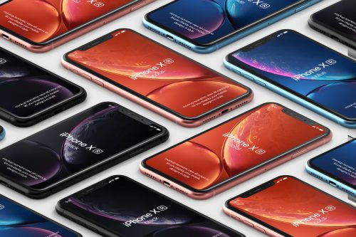 iPhone XR Isometric Mockup