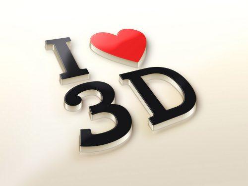 Love 3D Logo Mockup