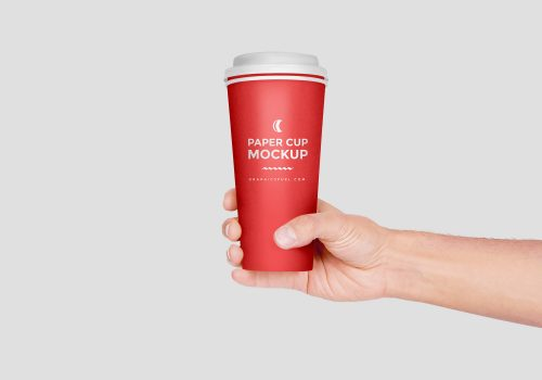 Paper Cup Hand Mockup PSD