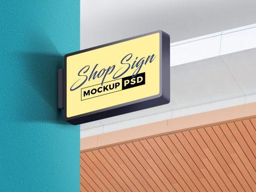 Store Wall Signage Mockup PSD