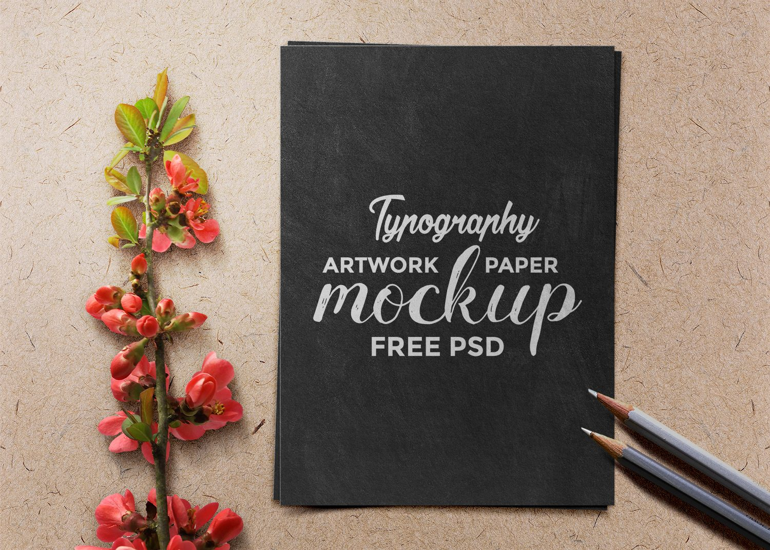 Typography Artwork Free Paper Mockup PSD
