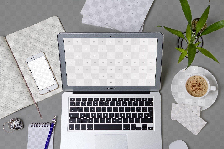 Workspace Mockup MacBook iPhone