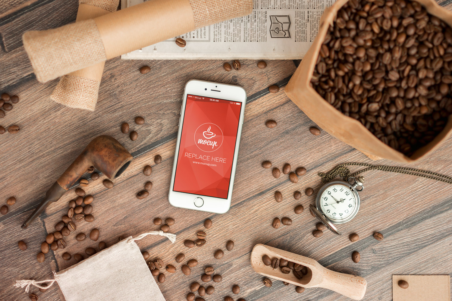 Free Coffee Branding iPhone 6 Mockup