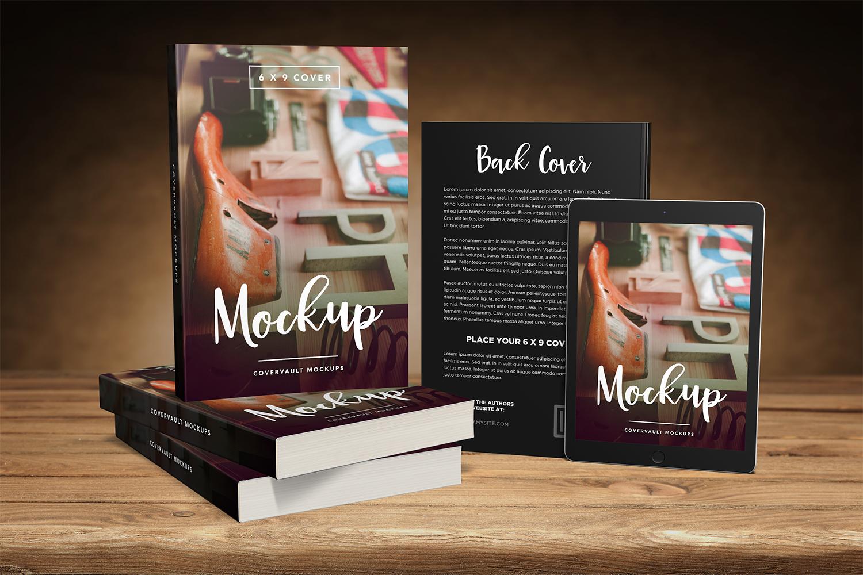 Paperback Books & Tablet Mockup