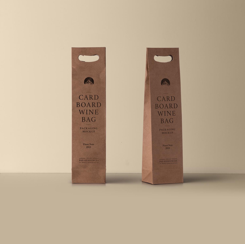 Wine PSD Cardboard Bag PSD