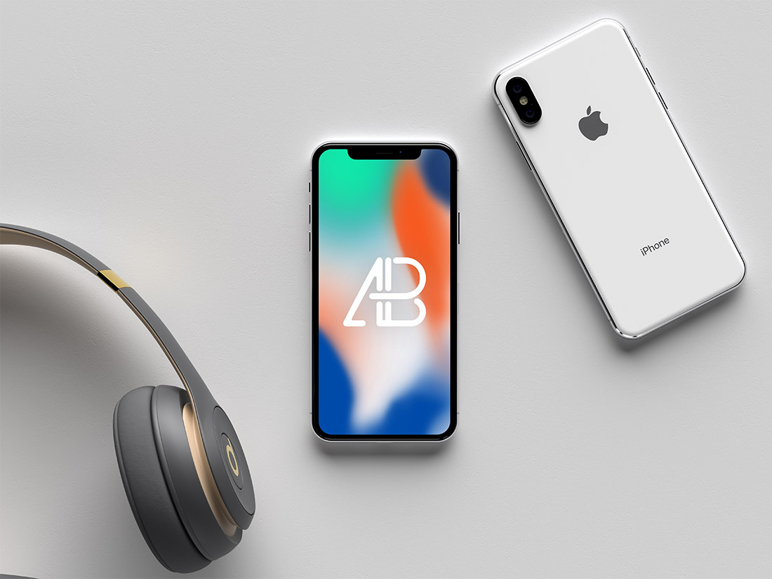 Apple iPhone X Front & Back Mockup 3D Render