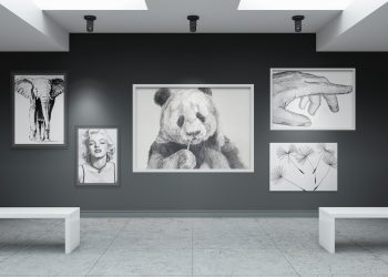Art Gallery Wall Canvas Poster Mockup