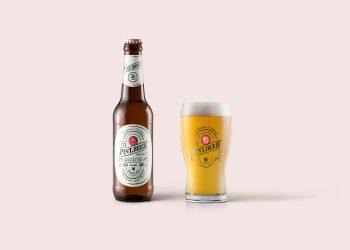 Beer Bottle & Glass Mockup PSD