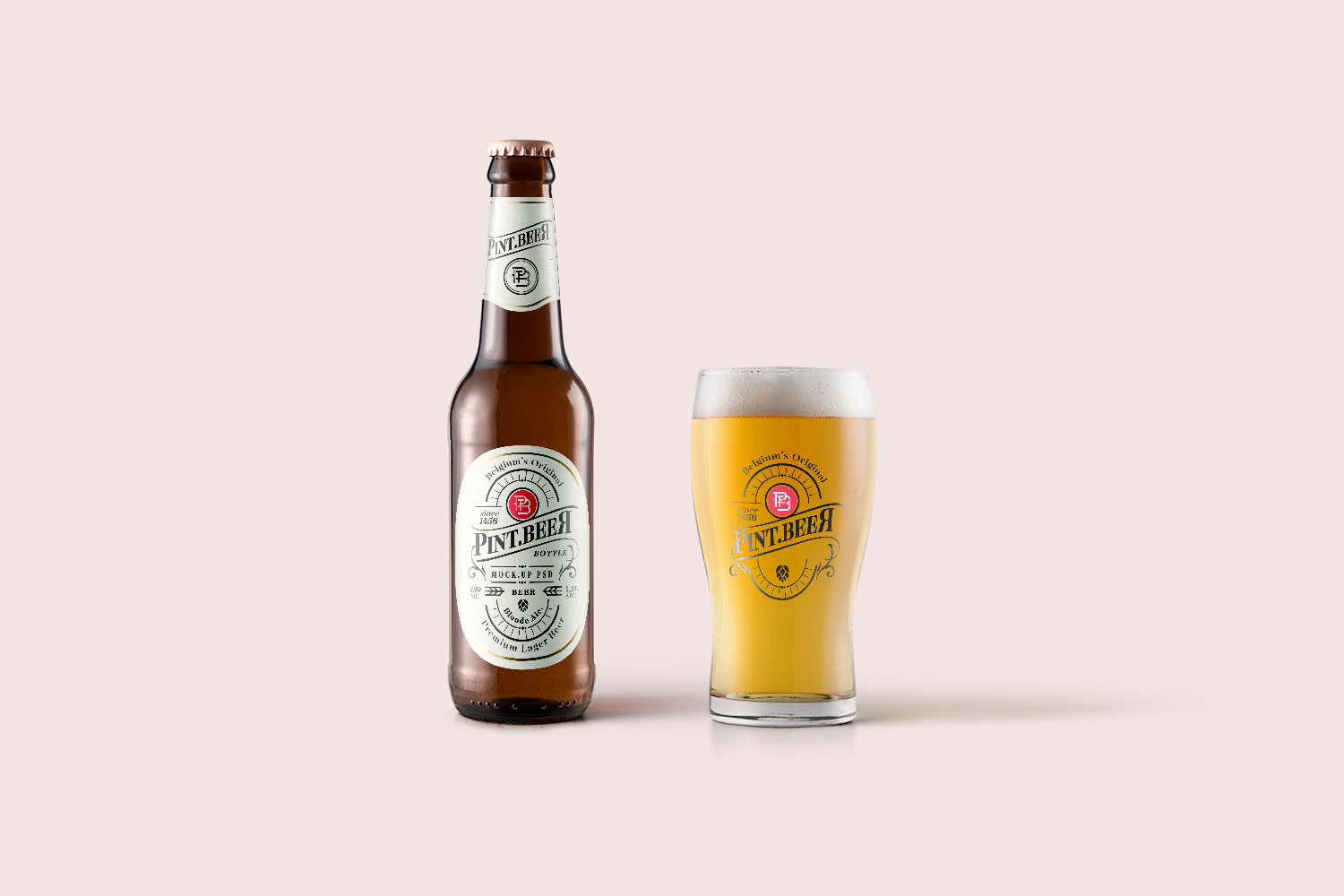 Beer Bottle & Glass Mockup PSD