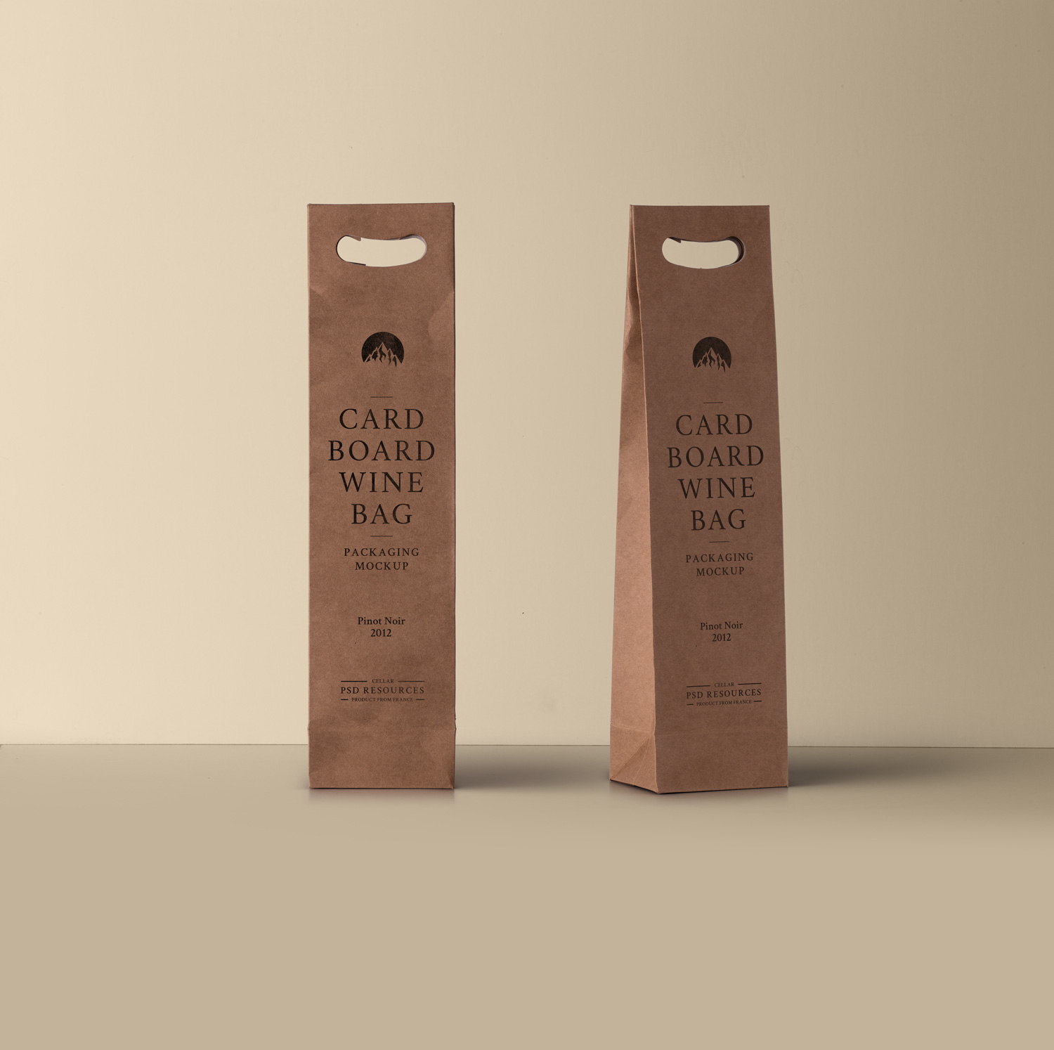 Wine PSD Cardboard Bag PSD