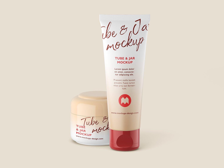 Cosmetic Cream Tube Jar Container Mockup