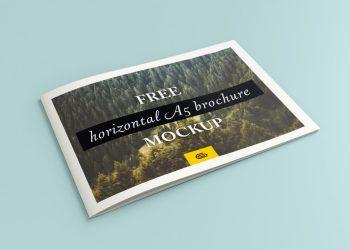 Free Bi-Fold Landscape A5 Brochure Mockup