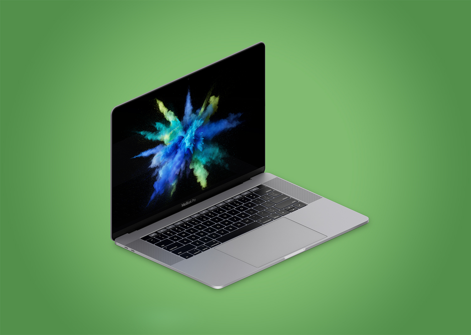 Isometric Apple MacBook Pro 4k Mockup PSD