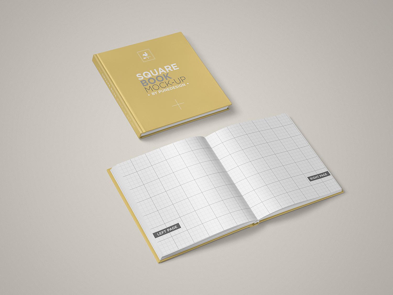 Square Book Mock-Up Set Free Sample