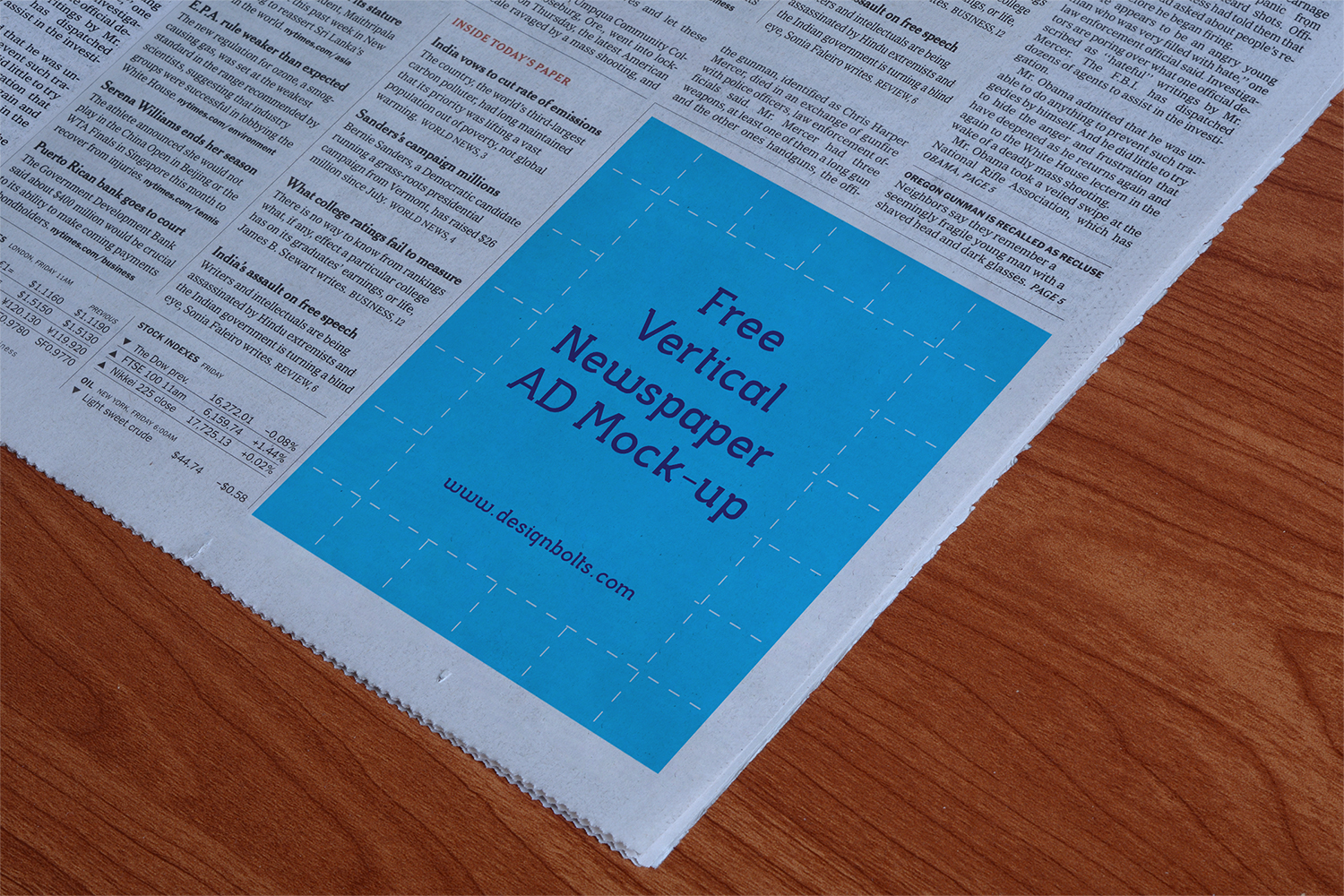 Vertical Newspaper Ad Mockup PSD