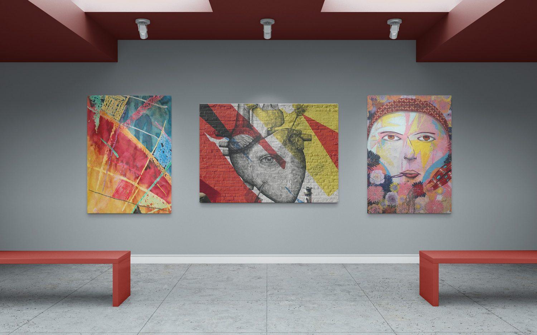 Art Gallery Wall Canvas Poster Mockup