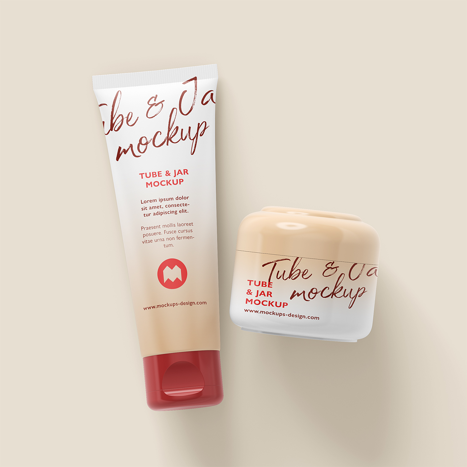 Cosmetic Cream Tube Jar Container Mockup