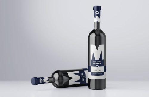 Free Wine Bottle Label Mockup PSD