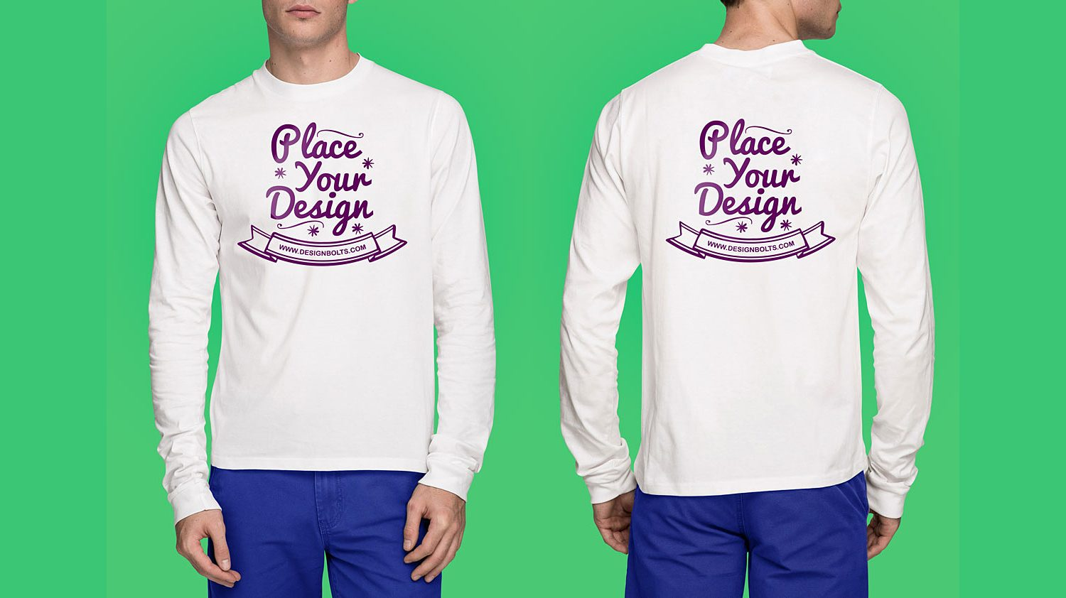 Front & Back White Long Sleeves T-Shirt Mockup