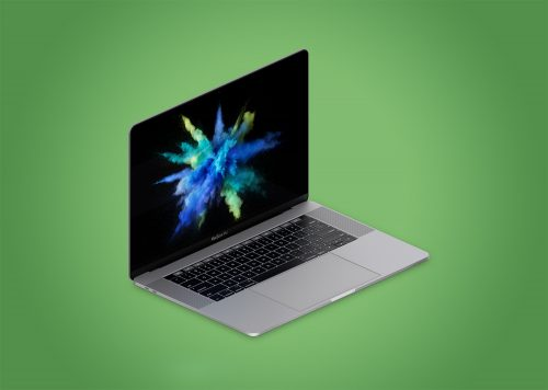 Isometric Apple MacBook Pro 4k Mockup PSD