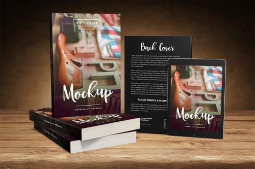 Paperback Books & Tablet Mockup