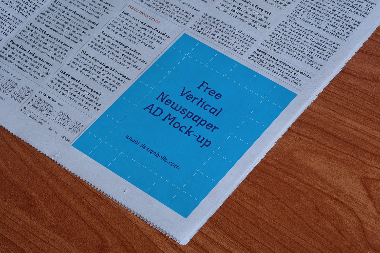 Vertical Newspaper Ad Mockup PSD