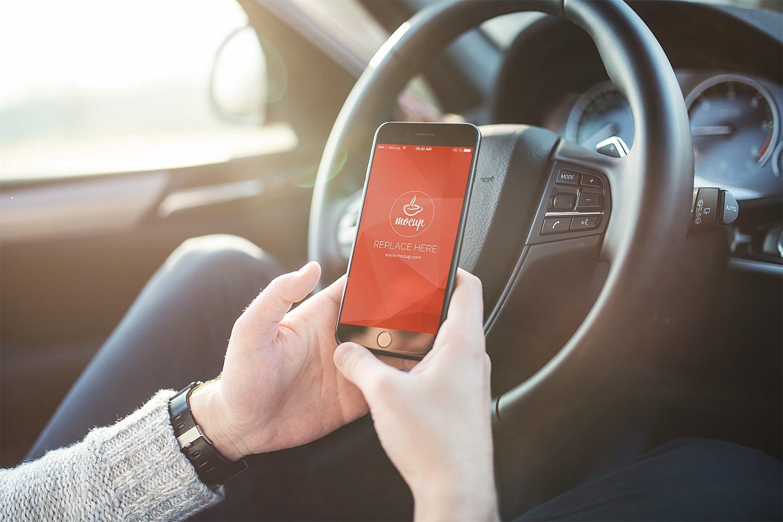 iPhone 7 Plus in Car Mockup