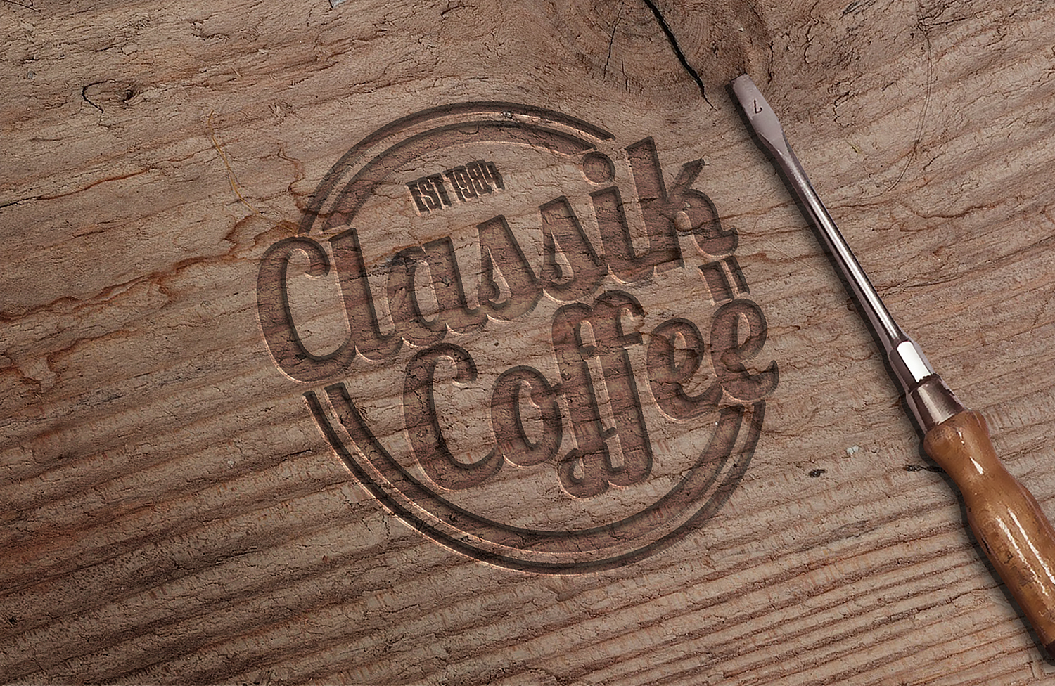 Engraved Wood PSD Mockup
