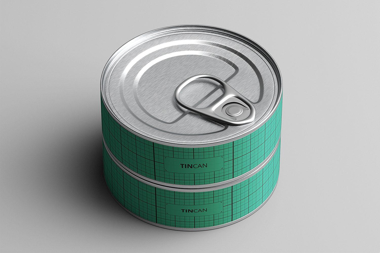Flat Tin Can Mockups PSD