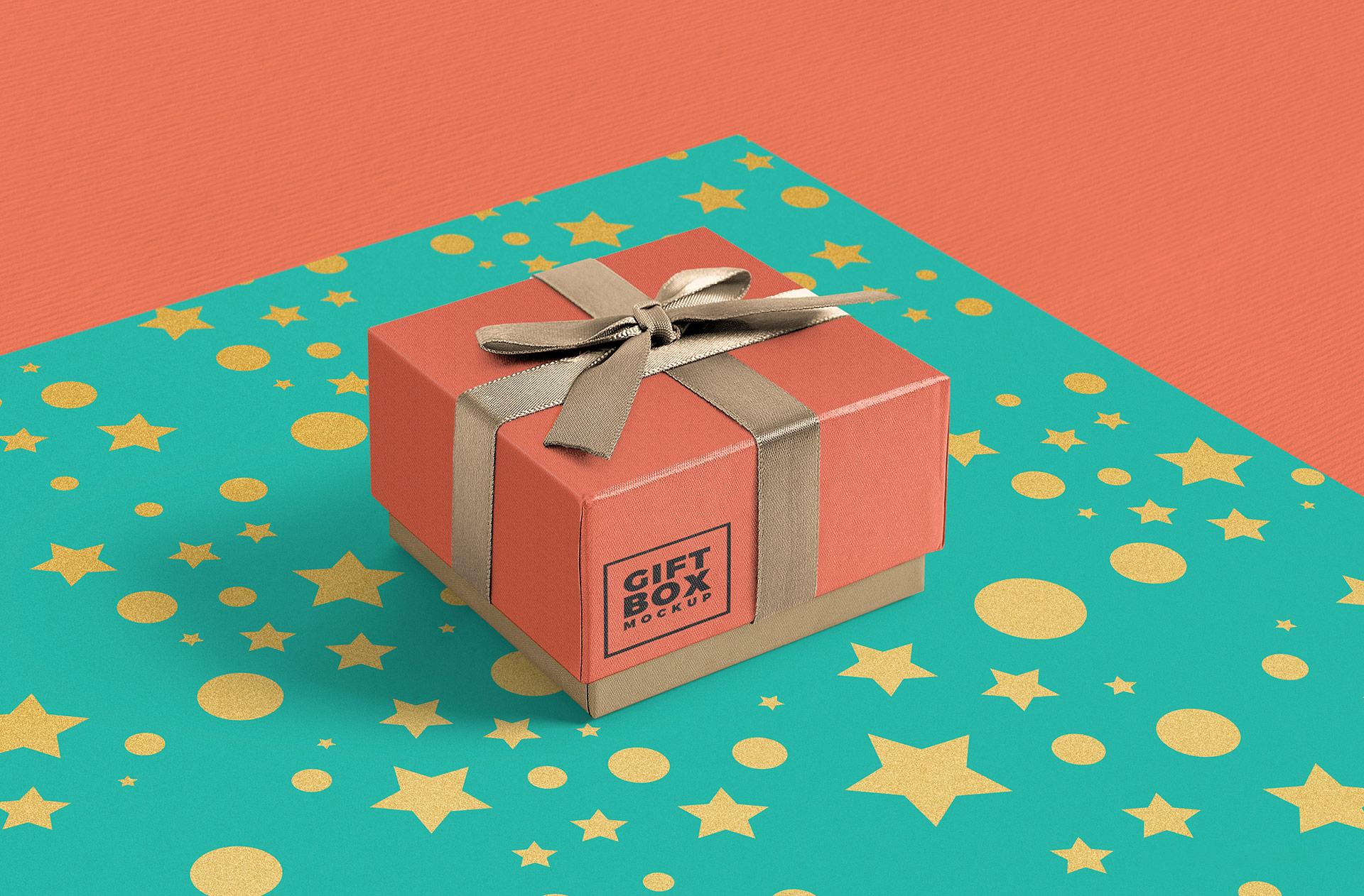 Free Gift Box PSD Mockup