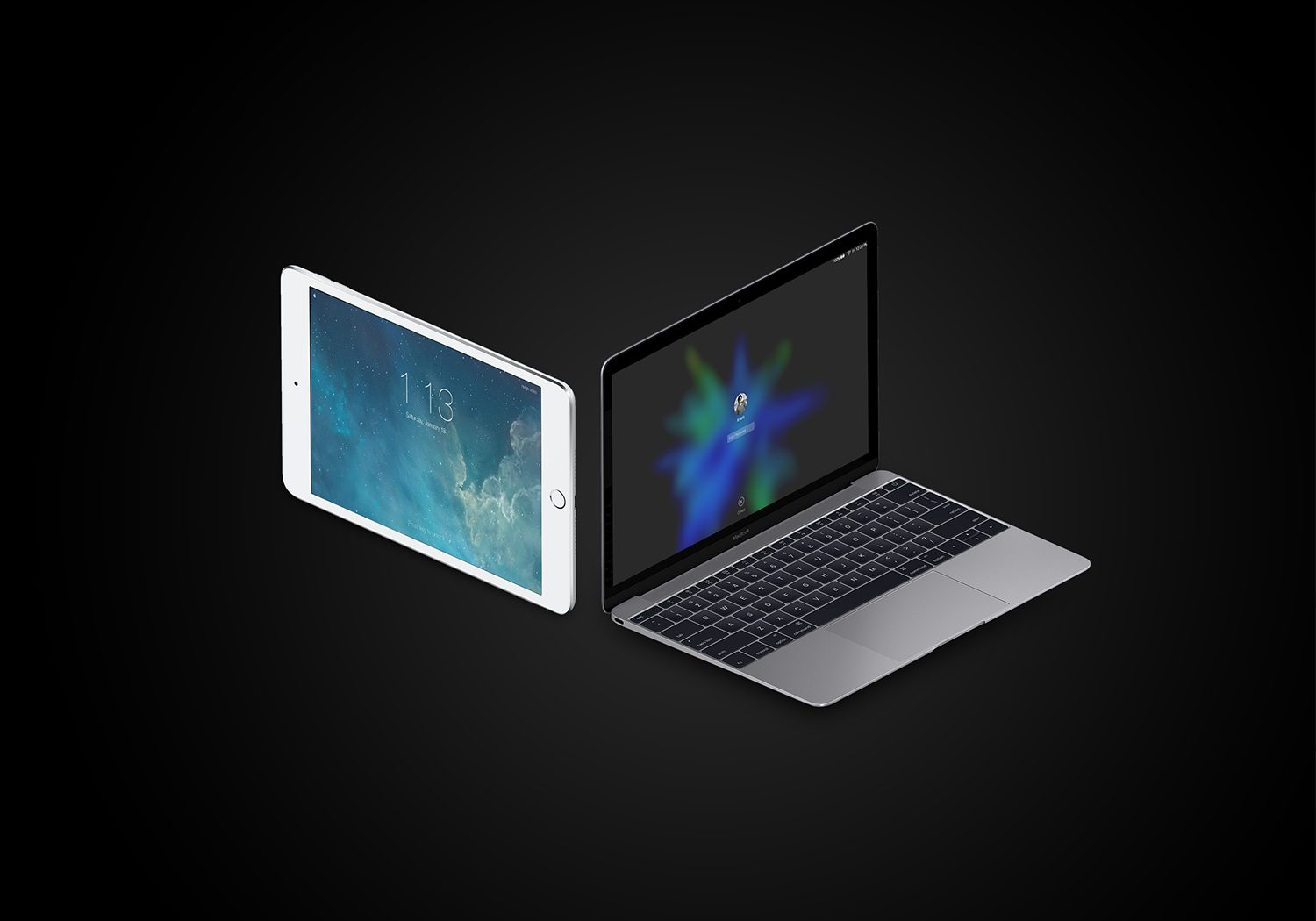 Isometric MacBook Pro iPad Mockup