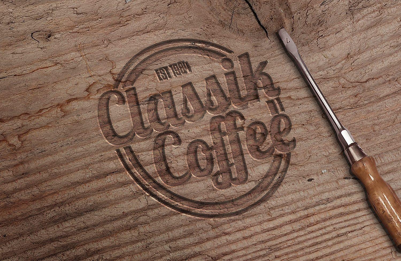 Engraved Wood PSD Mockup