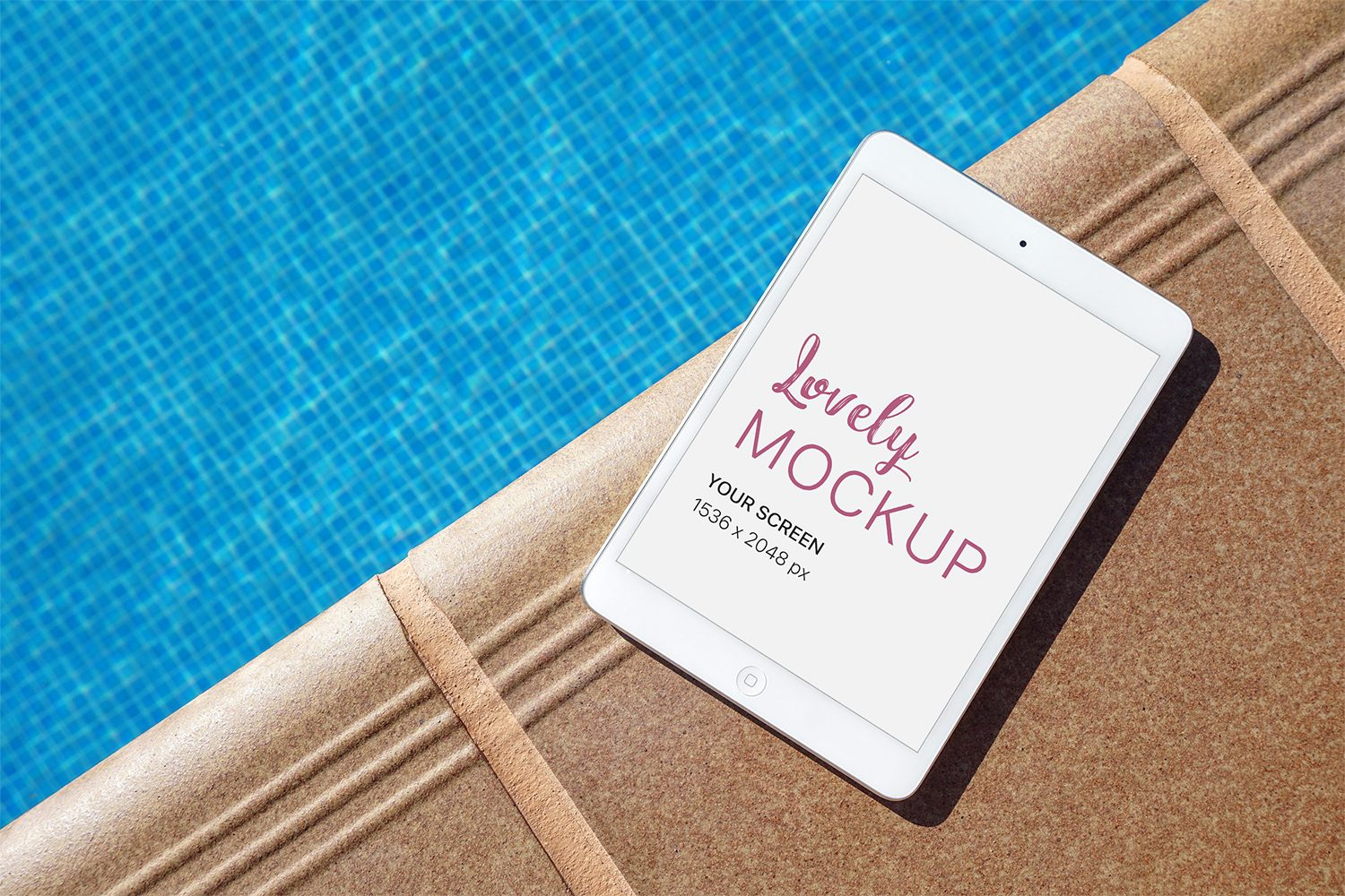 iPad near the Pool PSD Mockup