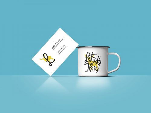 Free Business Card & Coffee Cup Mockup