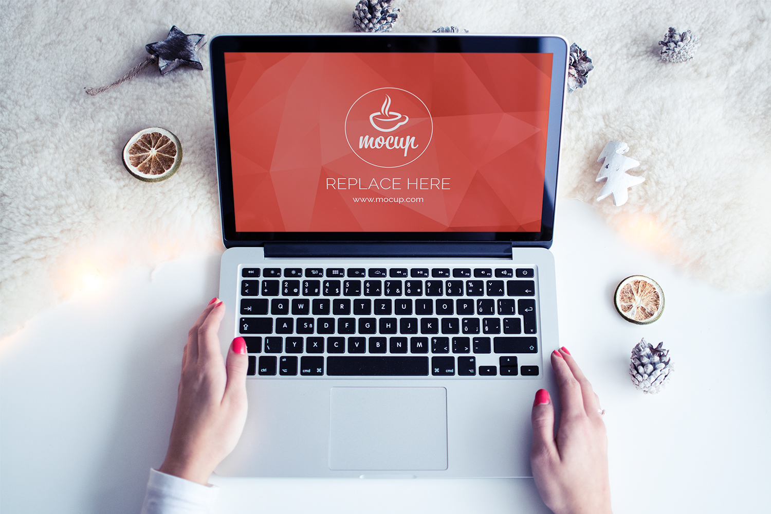 Free Mockup MacBook White Christmas