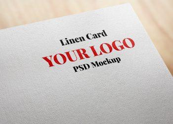 Linen Effect Card Logo Mockup PSD