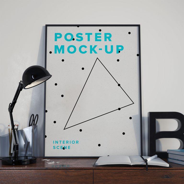 Poster Mockup PSD – Interior Scene