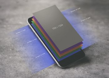 iPhone with Display Layers Mockup