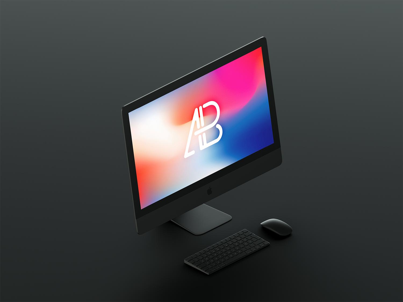 Isometric Matte Black iMac Pro Mockup