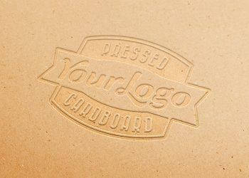 Pressed Logo Cardboard Mockup