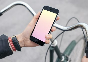 iPhone on a Bike Mockup