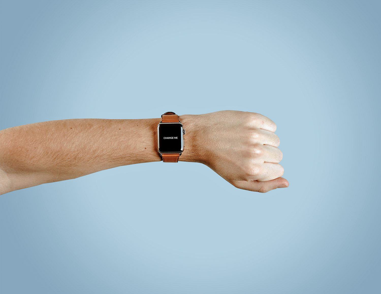 Apple Watch Mockup on Man's Hand