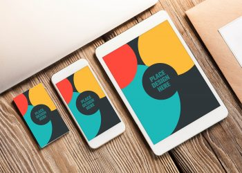 Business Card and Apple Devices Mockup
