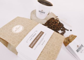 Coffee Bag and Cup Mockup Perspective Top View