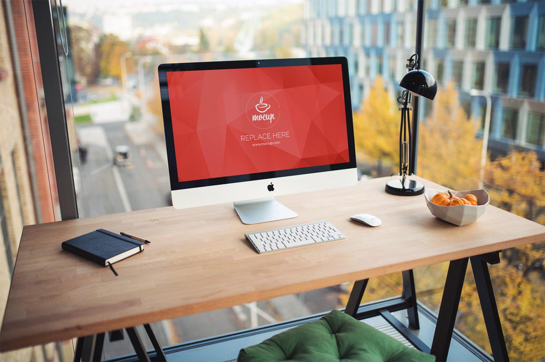 Free PSD Mockup iMac Business Office