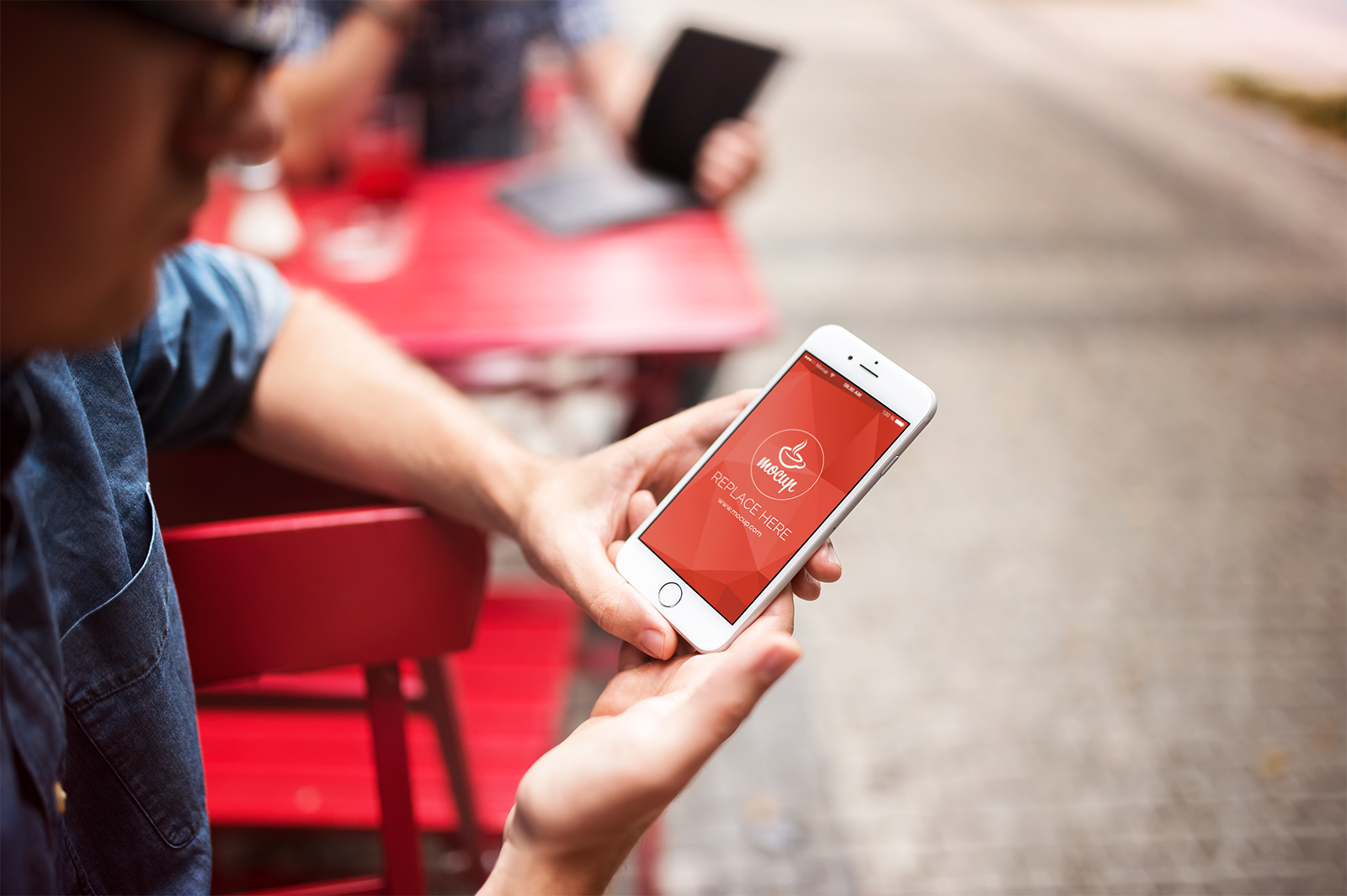 Free iPhone 6 Mockup Street Cafe