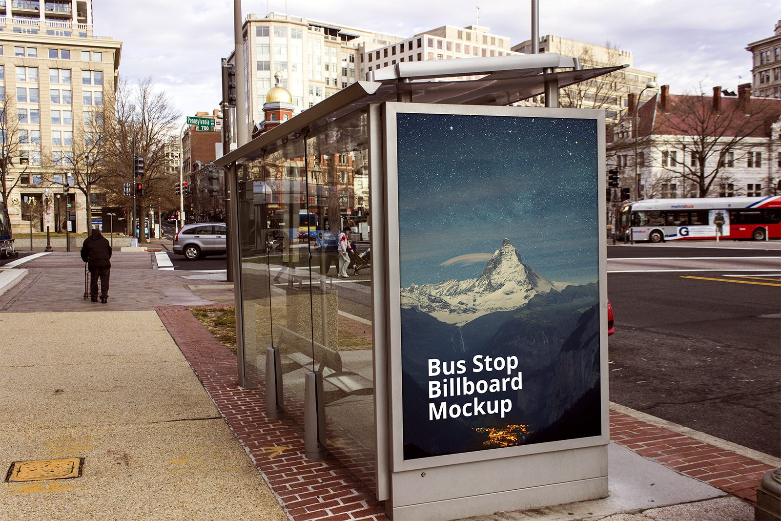 Outdoor Advertising Bus Stop Billboard Mockup