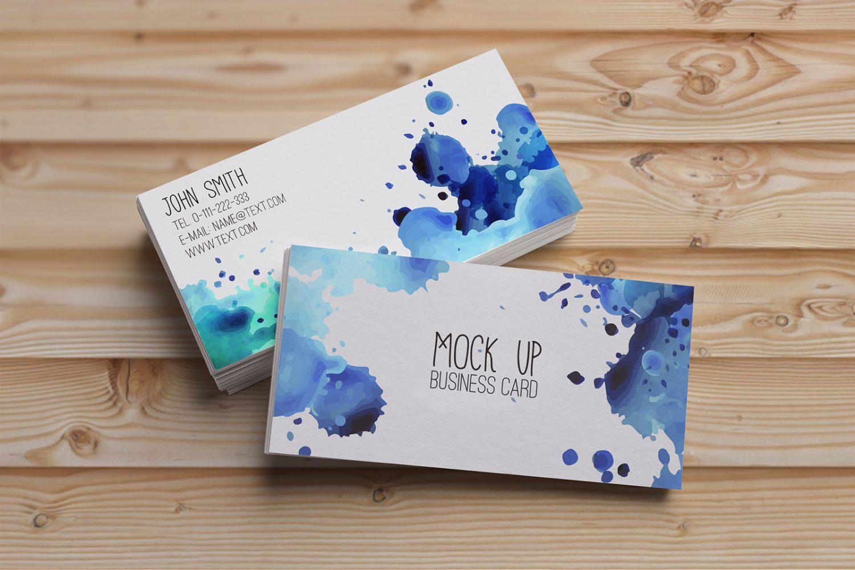Watercolor Business Card Mockup