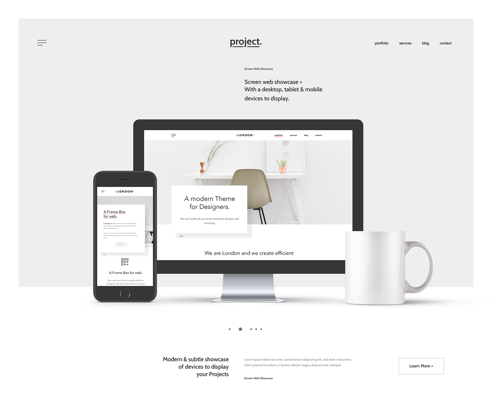 Showcase Website Header Mockup