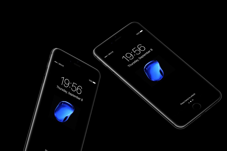 Floating iPhone 7 Jetblack Mockups